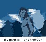 Stock vector the legendary yeti bigfoot sasquatch in the himalayas 1417789907