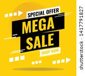 sale banner design. mega sale... | Shutterstock .eps vector #1417791827