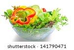 vegetable salad bowl on isolate ... | Shutterstock . vector #141790471