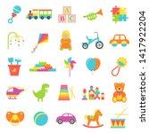 baby toy. vector. set kids toys ... | Shutterstock .eps vector #1417922204