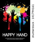 large group of happy hands...   Shutterstock .eps vector #141794161