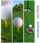 Three vertical golf ball photos as sidebars - stock photo