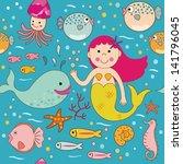 illustration of a cute mermaid ... | Shutterstock .eps vector #141796045