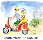 Young Couple On A Scooter ...