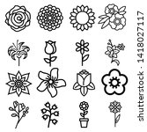 flower icon set. simple set of... | Shutterstock .eps vector #1418027117