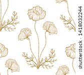 poppies flowers vector seamless ... | Shutterstock .eps vector #1418032244