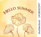 summer vintage stylized card... | Shutterstock .eps vector #1418032247