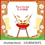 barbecue party menu card... | Shutterstock . vector #1418065691