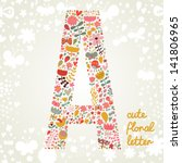 The Letter A. Bright Floral...