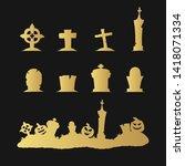 golden silhouettes of cemetery... | Shutterstock .eps vector #1418071334