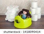 children's toilet pot green ... | Shutterstock . vector #1418090414