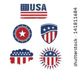 set of american symbols. vector ... | Shutterstock .eps vector #141811684
