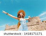 Happy Tourist Woman On Vacatio...
