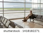 high angle of bored adult young ...   Shutterstock . vector #1418182271