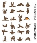 sloth yoga collection. funny... | Shutterstock .eps vector #1418201417