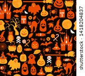 seamless pattern of halloween... | Shutterstock . vector #1418204837