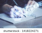 double exposure of writing... | Shutterstock . vector #1418224271