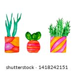 watercolor summer succulents... | Shutterstock . vector #1418242151