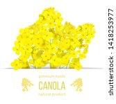rapeseed blossom flowers card.... | Shutterstock .eps vector #1418253977