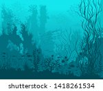 underwater landscape with shark ... | Shutterstock .eps vector #1418261534