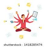 business woman multitasking... | Shutterstock .eps vector #1418285474