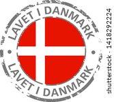 made in denmark flag grunge icon | Shutterstock .eps vector #1418292224
