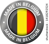 made in belgium flag metal icon  | Shutterstock .eps vector #1418292524