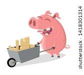 funny cartoon pig with money...   Shutterstock .eps vector #1418301314
