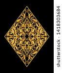 gold vintage baroque frame... | Shutterstock .eps vector #1418303684