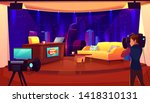 television studio with camera ... | Shutterstock .eps vector #1418310131