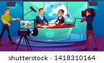 tv news studio with television... | Shutterstock .eps vector #1418310164