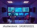 hacker anonymous in mask in... | Shutterstock .eps vector #1418310221