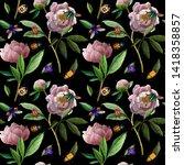 seamless pattern. pastel pink...   Shutterstock . vector #1418358857