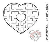 abstract heart shaped labyrinth.... | Shutterstock . vector #1418425001