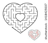 abstract heart shaped labyrinth.... | Shutterstock . vector #1418425037
