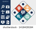 search icon set. 13 filled...