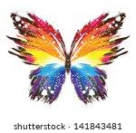 grunge rainbow butterfly | Shutterstock .eps vector #141843481