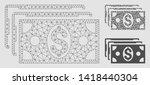 mesh dollar banknotes model... | Shutterstock .eps vector #1418440304