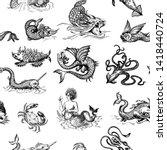 mythological vintage sea... | Shutterstock .eps vector #1418440724