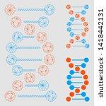 mesh dna molecule model with... | Shutterstock .eps vector #1418442131