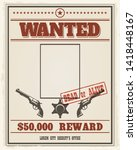 retro wanted western poster...   Shutterstock .eps vector #1418448167