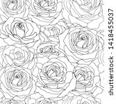 seamless pattern with roses.... | Shutterstock .eps vector #1418455037