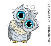 cute owl cartoon vector  bird... | Shutterstock .eps vector #1418493497