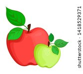 bright and juicy apples with...   Shutterstock .eps vector #1418529371