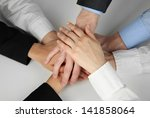 group of young people's hands... | Shutterstock . vector #141858064