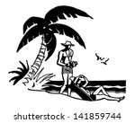 tourists on tropical beach  ... | Shutterstock .eps vector #141859744