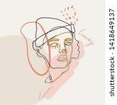 portrait of woman in minimal... | Shutterstock .eps vector #1418649137