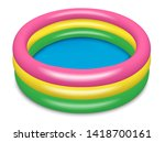 the inflatable paddling pool is ... | Shutterstock .eps vector #1418700161