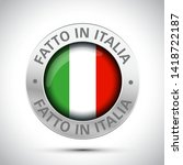 made in italy flag metal icon  | Shutterstock .eps vector #1418722187