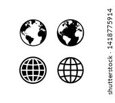globe icon symbol set  web icon ... | Shutterstock .eps vector #1418775914